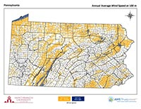 Pennsylvania Wind Map 100 m thumbnail