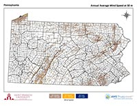 Pennsylvania Wind Map 30 m thumbnail