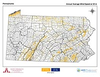 Pennsylvania Wind Map 50 m thumbnail